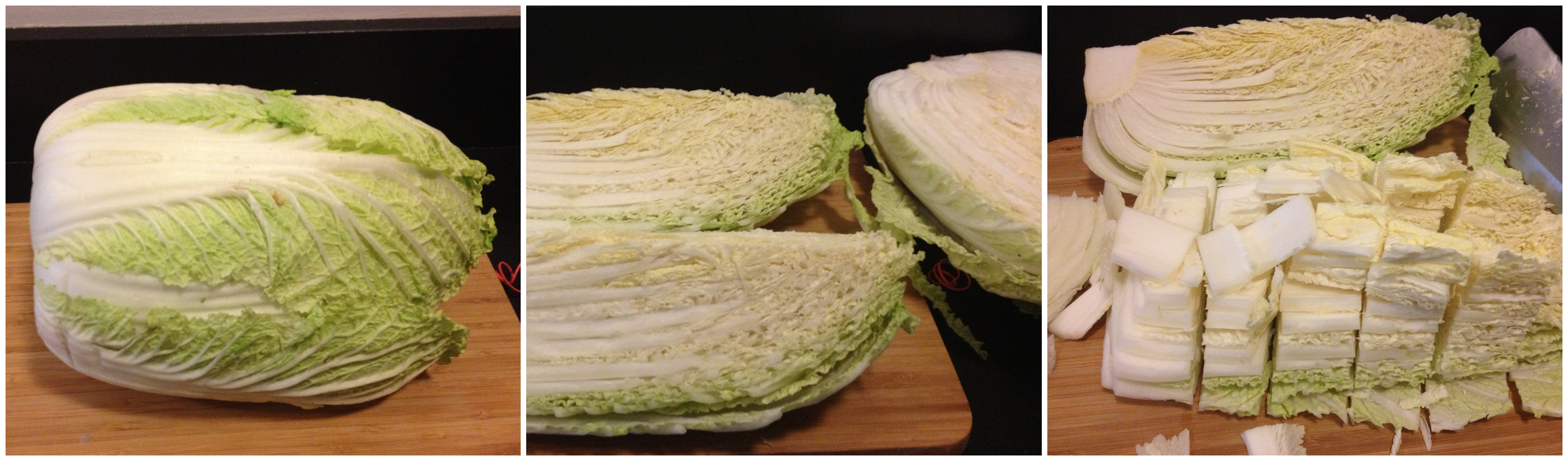 chopping cabbage