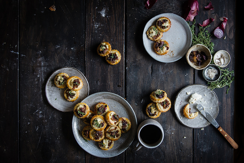 boursin & caramelized onion tartlets - Two Red Bowls