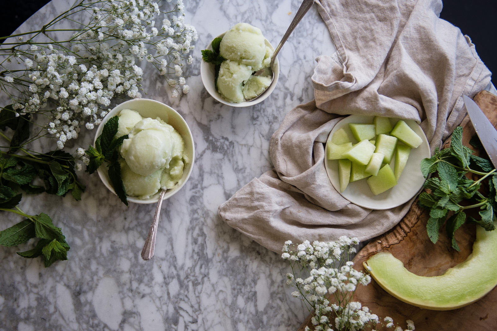 An overhead shot of green melon ice cream in bowls next to sliced melons.
