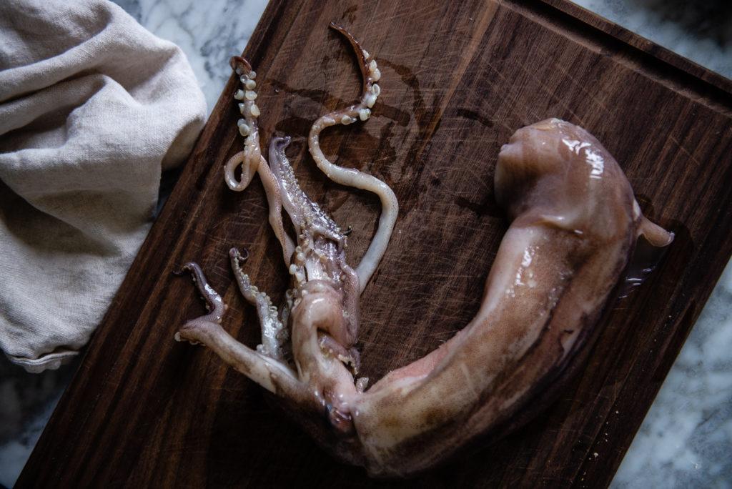 squid ink pasta aglio e olio