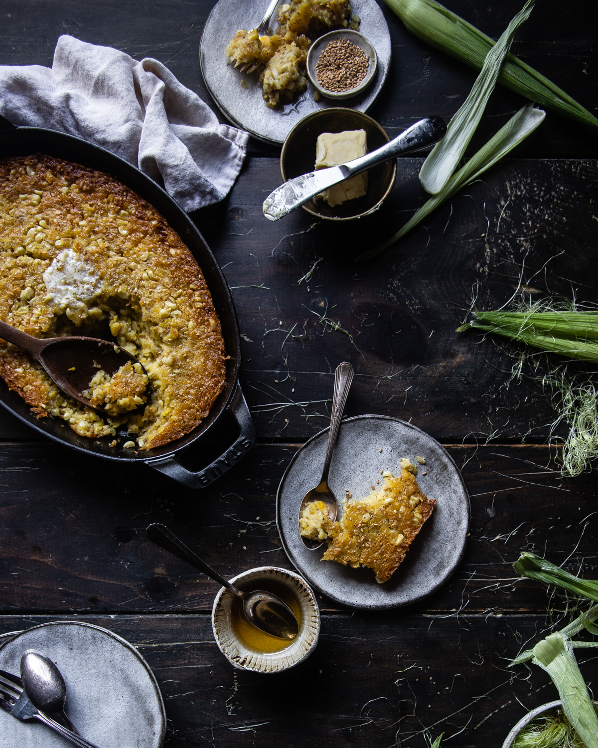 honey sesame corn pudding
